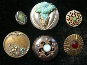 antique metal buttons with gems and minerals added ©booksandbuttons