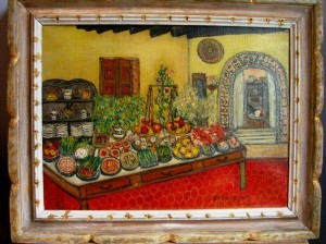 """table of hors doeuvres"" by Jessie Drew-Bear at Bonne Auberge, New Hope, PA  16"" x 20"" framed ©booksandbuttons"