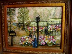 "flower market at Place de la Madeleine Paris by Jessie Drew-Bear 1951 17.5"" x 21.5"" framed ©booksandbuttons"