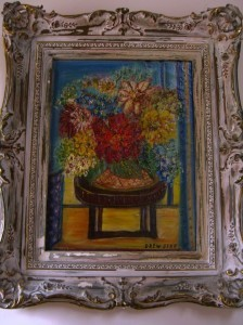 "floral still life by Jessie Drew-Bear 24"" x 20"" framed"