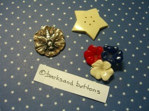 "Francois Hugo insect button is 1 1/8"" diameter.  Other two buttons are by Scemama.  Note 5 holes in star."