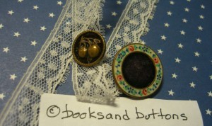 Buttons with velvet . . The button with the porcelain border is 7/8 in in diameter.