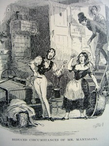 "Reduced Circumstances of Mr. Mantalini; illus by ""Phiz"" from Nicholas Nickleby by Charles Dickens"
