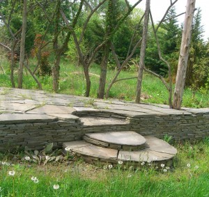 handmade stone steps at Paxson Hill Farm ©booksandbuttons