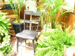 sit down---while you think about your garden . . .