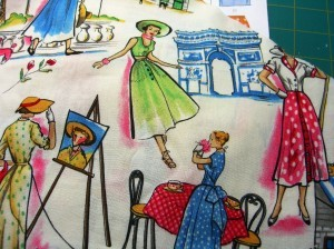 the Paris fabric for a circle skirt ©booksandbuttons