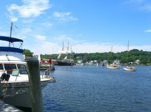 see the little sailboats having a lesson?  at Mystic Seaport ©booksandbuttons