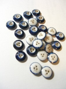 Group of early blue and white china buttons ©booksandbuttons