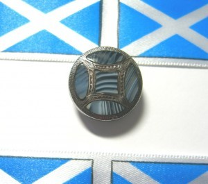 "3/4"" diameter Scottish agate stud button ©booksandbuttons"