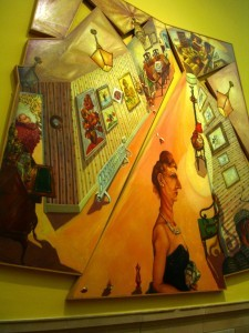 """Embassy Lodge"" 1990 by Anthony Green--large--about 4 ft x 4 ft.  At Kelvingrove Gallery Glasgow"