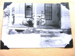 front porch, with our dog, Domino ©booksandbuttons