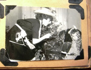 me in Hopalong Cassidy outfit and cousin Johhny Chrismas in the 1950s ©booksandbuttons