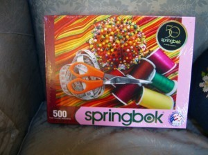 One is a sewing puzzle by Springbok--only 500 pieces--relaxing!
