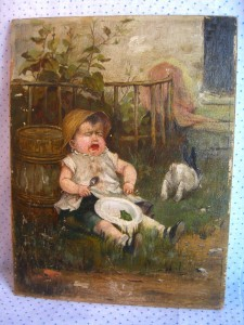 early oil painting, unsigned; ©booksandbuttons CLICK TO ENLARGE
