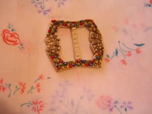 "Old tin flowered buckle is 2 1/8"" across  booksandbuttons"