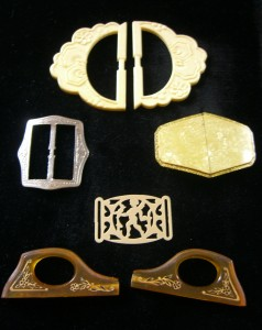 Old celluloid and plastic buckles ©booksandbuttons