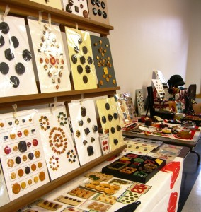 Bakelite display of Jennifer Laskovic at Titusville NJ button show