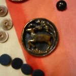 "Running deer--a large button with 1 3/4"" diameter--wood and paper mache ©booksandbuttons"