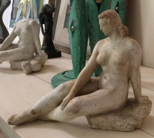 plaster sculpture, seated woman, by Charles Rudy (Bucks County 1904-1986)