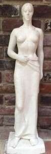 plaster sculpture, standing woman, by Charles Rudy (Bucks County 1904-1986)