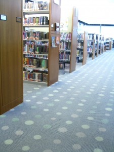 Many many shelves at Crandall Library