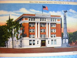 old linen postcard from circa 1950 Glens Falls Insurance Company