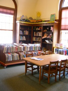 wonderful light coming into the children's section at Lake George library