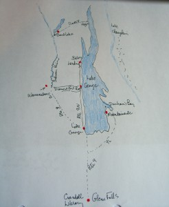 sketch of Lake George NY and surrounding towns ©booksandbuttons