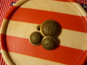 two small Superior Quality buttons, one by Goodwins ©booksandbuttons