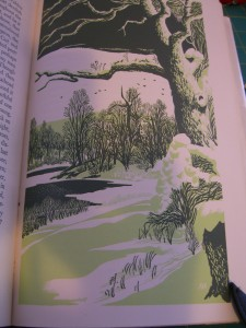 Colored woodcut by illustrator Aldren Watson for Walden