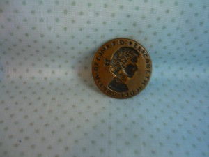 "Queen Elizabeth coronation button 1953 1 18"" in diameter"